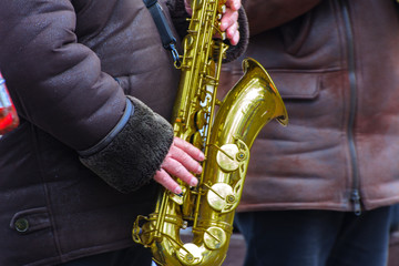 Musical instruments. Orchestra performance at the festival of Carnival