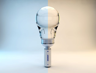 cold and warm color temperature lightbulb 3d rendering