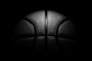 basketball on black background.