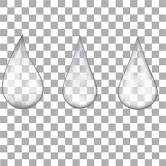 Set of transparent water drops on transparent background. Vector