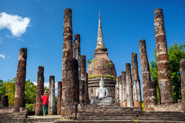 Traveler in Historical Park of Thailand