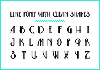 Lined hipster styled trendy font with minimalistic bold shapes