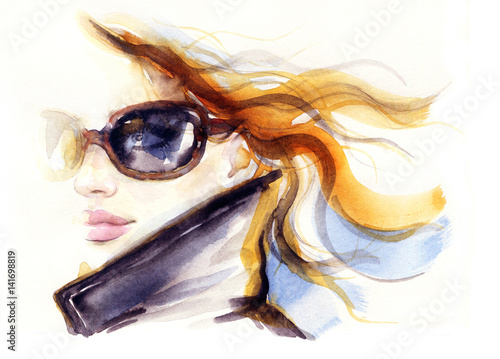634ae2717d8 Woman with sunglasses. Fashion illustration. Watercolor painting ...