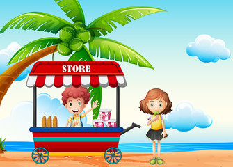 Beach scene with boy and girl at food vendor