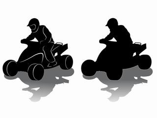 silhouette of a rider ATV, vector draw
