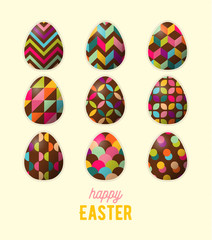 Happy Easter greeting card. Abstract geometric ornamented easter egg.