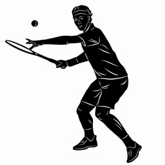 illustration of a tennis player, vector draw