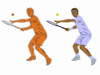 silhouette of a tennis player, vector draw