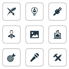 Vector Illustration Set Of Simple Visual Art Icons. Elements Apathy, Accuracy, Nerd And Other Synonyms Web, Discussion And Hammer.
