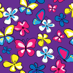 Cute floral seamless pattern with butterflies and flowers