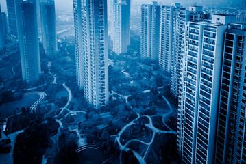 view of Hong Kong apartment block in China.