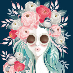 Wall Mural - Vector illustration of a sunglasses woman with floral bouquet on her hair in spring for Wedding, anniversary, birthday and party. Design for banner, poster, card, invitation and scrapbook