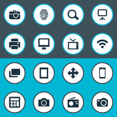 Vector Illustration Set Of Simple Device Icons. Elements Camera, Layout, Monitor And Other Synonyms Identification, Camera And Print.