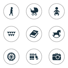 Vector Illustration Set Of Simple Baby Icons. Elements Kid, Dictionary, Festival And Other Synonyms Wheel, Moments And First.