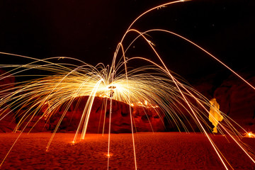 Steel Wool Sparks at Night