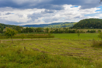 The landscape of fields and mountains in western Ukraine