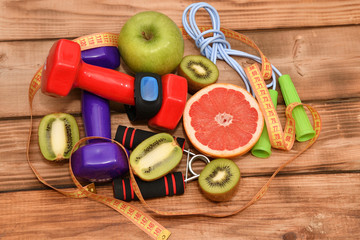 The concept of a healthy lifestyle, sports and diet