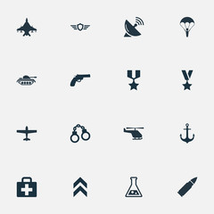 Vector Illustration Set Of Simple Terror Icons. Elements Sky Force, Paratrooper, Air Bomber And Other Synonyms Parachutist, Support And Hook.
