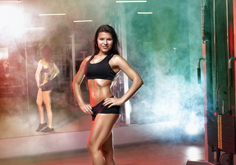 athletic woman training workout at gym