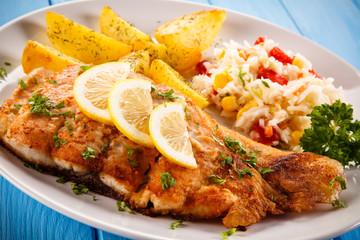 Fish dish - fried fish with potatoes