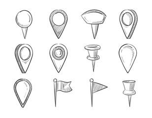 Hand drawn map pointers, doodle navigation pins vector set