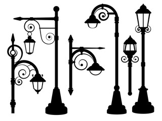 Street lamp, road lights vector silhouettes