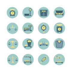 Vintage balance, electronic and mechanical scales, weight measurement flat vector icons