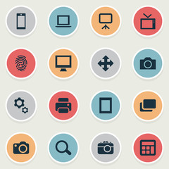 Vector Illustration Set Of Simple Device Icons. Elements Layout, Projector, Search And Other Synonyms Document, Options And Printer.
