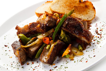 Roast meat with toast