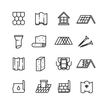 Roof, housetop construction materials, waterproofing thin vector icons