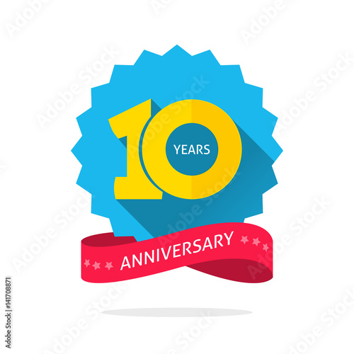 10 Years Anniversary Logo Template With Shadow On Blue Color Rosette