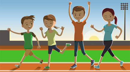 Family show a power at dawn. Fun Fitness. enjoy life with parent. Running in the stadium.