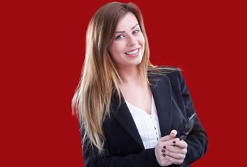 Businesswoman riceve una bellissima notizia!
