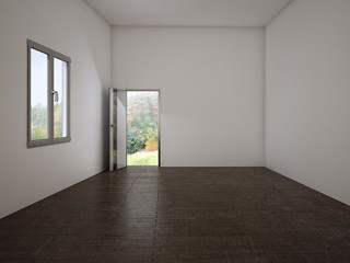 empty  room with the door and a window, 3d