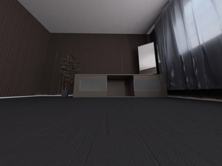 a plant in the room, 3d