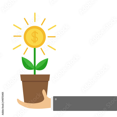 Businessman Hand Holding Growing Money Tree Big Shining Coin With Dollar Sign Plant In The Pot