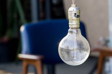 hanging vintage light bulb