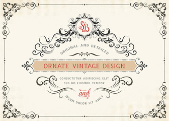 Horizontal ornate vintage template with monogram and typographic design on the halftone background. Can be used for retro invitations, greeting cards and royal certificates. Vector illustration.