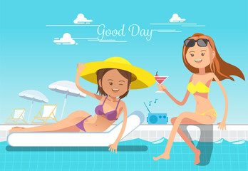 Holiday of woman. Service at the pool. Relax in summer.
