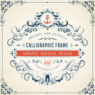 Ornate vintage template with monogram and typographic design on the halftone background. Can be used for retro invitations, greeting cards and royal certificates. Vector illustration.