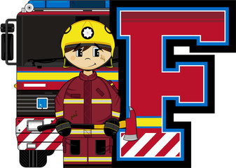 F is for Fireman Alphabet Learning Illustration