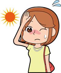 日焼けしそうな女性のイラスト