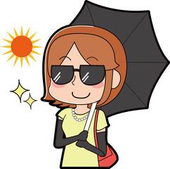 日焼け対策バッチリの女性のイラスト