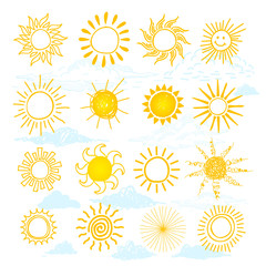 Funny vector doodle suns. Freehand drawing set. Isolated on white background.