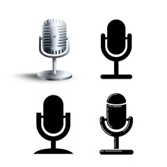 Microphone icon set. Vector illustration. Isolated on white background