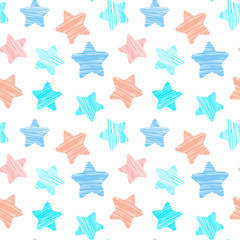Childish seamless pattern with stars, vector