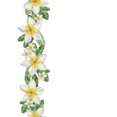 Hawaiian flowers. Seamless border. Watercolor illustration. Hand-drawing