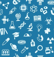 Science, background, seamless, blue, vector. The bright, flat icons on a dark blue field. Different types of scientific activities. Colored, flat background.