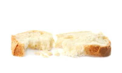 Bread slice on white background