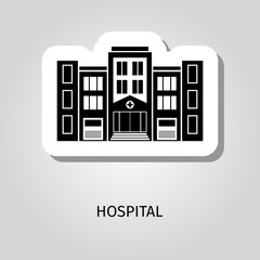 Hospital black silhouette building sticker